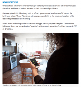 Adam Meshberg in Multi Housing News Talks Technology In The Home