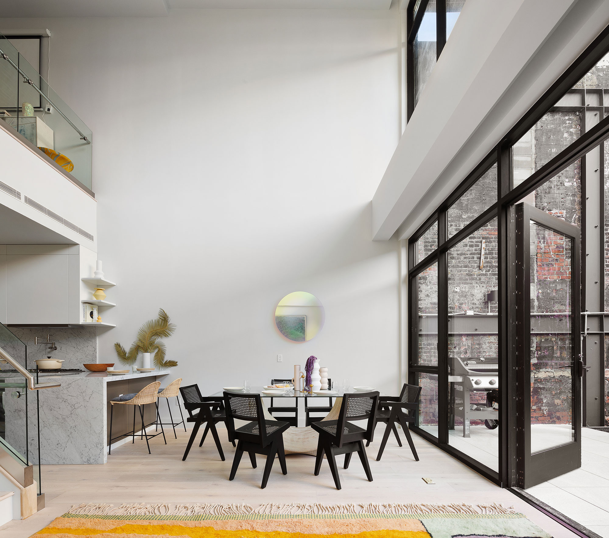Double Height Townhouse Living Area Interior Design by Meshberg Group NYC