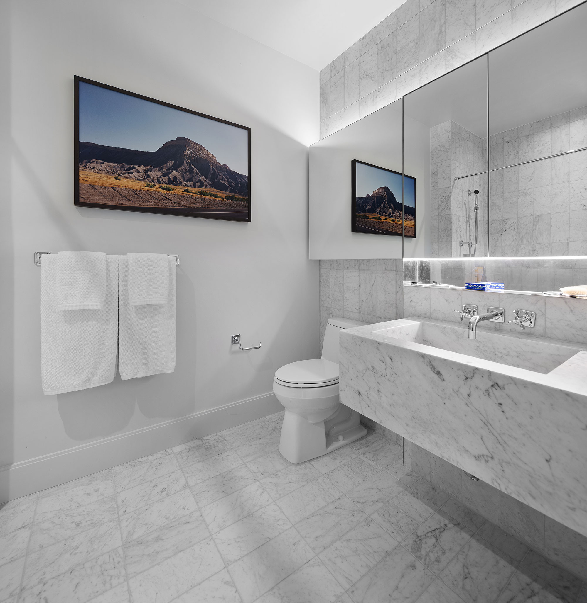 Marble Powder Room Townhouse ofThe Bath Haus Interior Design by Meshberg Group