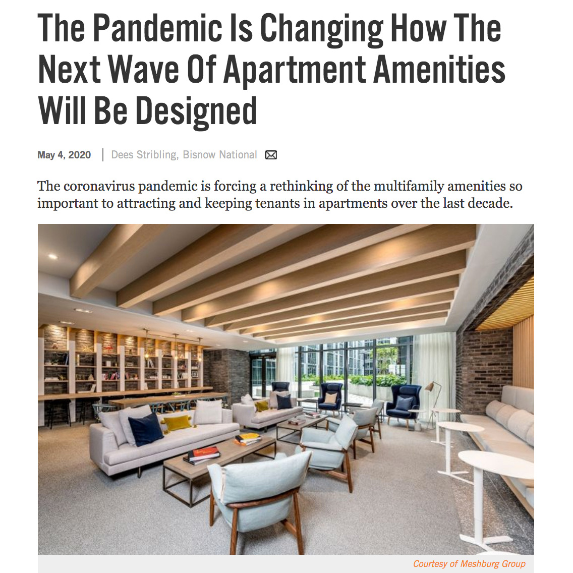 Meshberg Group: The Pandemic Is Changing How The Next Wave Of Apartment Amenities Will Be Designed Bisnow