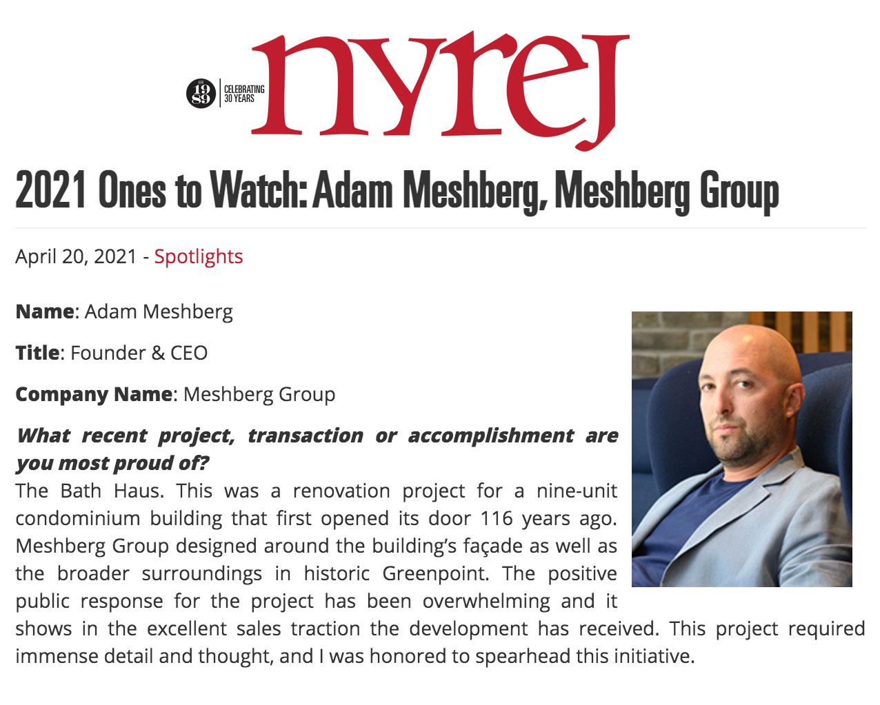 New York Real Estate Journal: 2021 Ones to Watch: Adam Meshberg, Meshberg Group