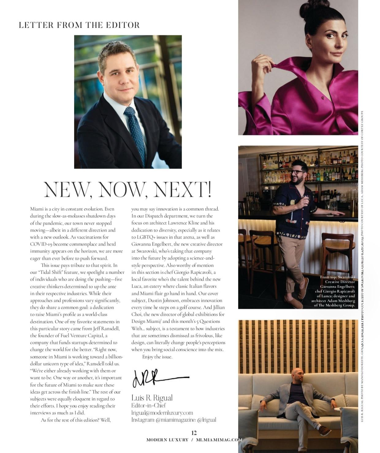 Miami Magazine Modern Luxury Miami's Disruptors and Innovators feturing Architect Adam Meshberg