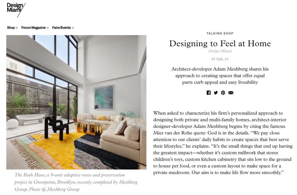 Designing to Feel at Home: Architect and Interior Designer Adam Meshberg in Design Miami